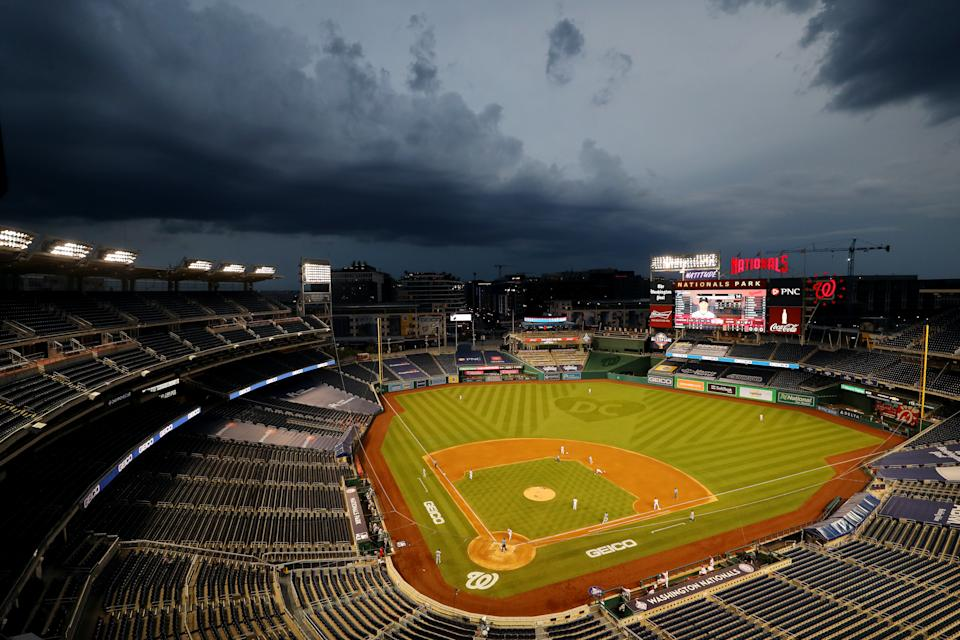 WASHINGTON, DC - JULY 23:  A general view of Nationals Park during the game between the New York Yankees and the Washington Nationals on Thursday, July 23, 2020 in Washington, District of Columbia. (Photo by Alex Trautwig/MLB Photos via Getty Images)