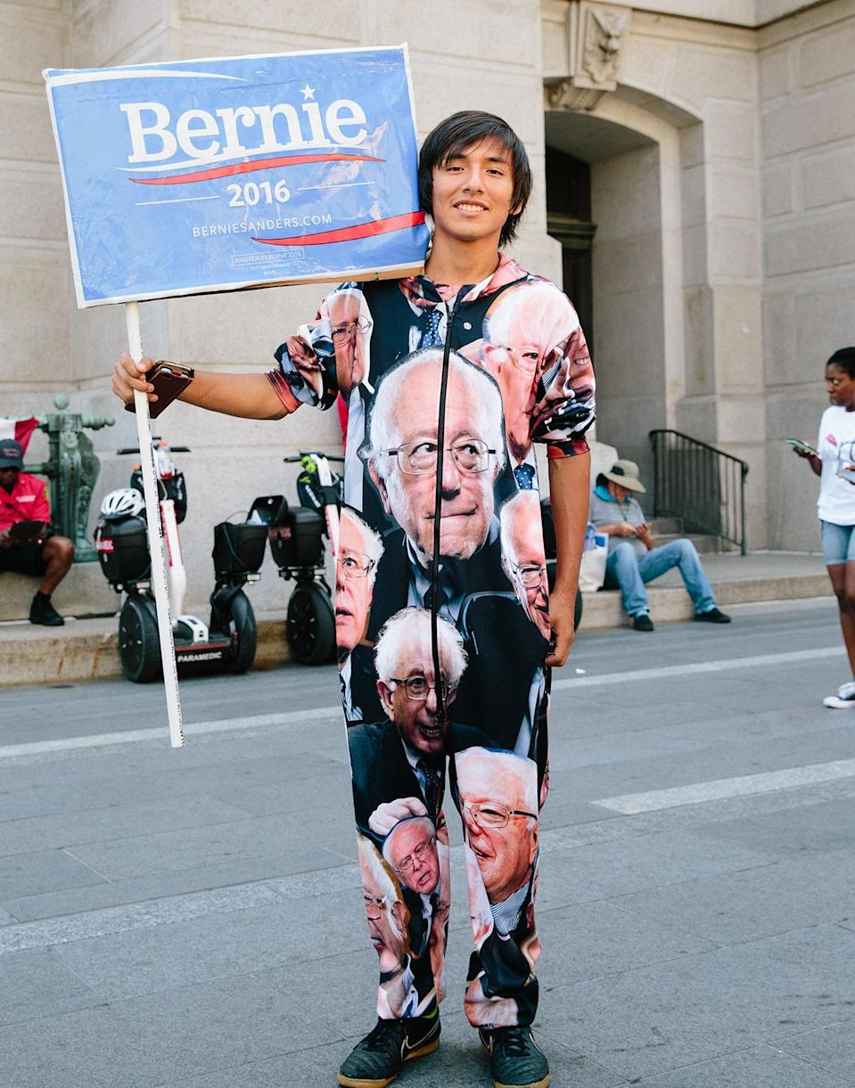"""<p>""""It's head-to-toe just Bernie all the way, and I have a Bernie shirt underneath just in case.""""</p>"""