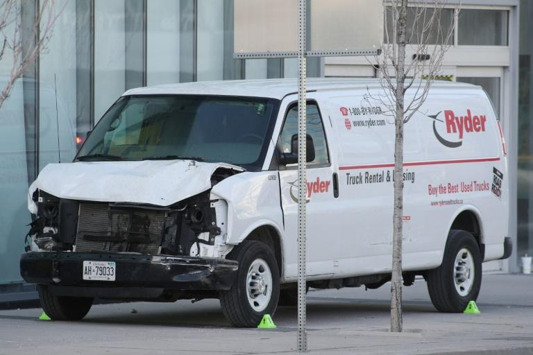 The van used to hit  pedestrians, killing 10, in Toronto, Ontario, on Monday on April 23, 2018