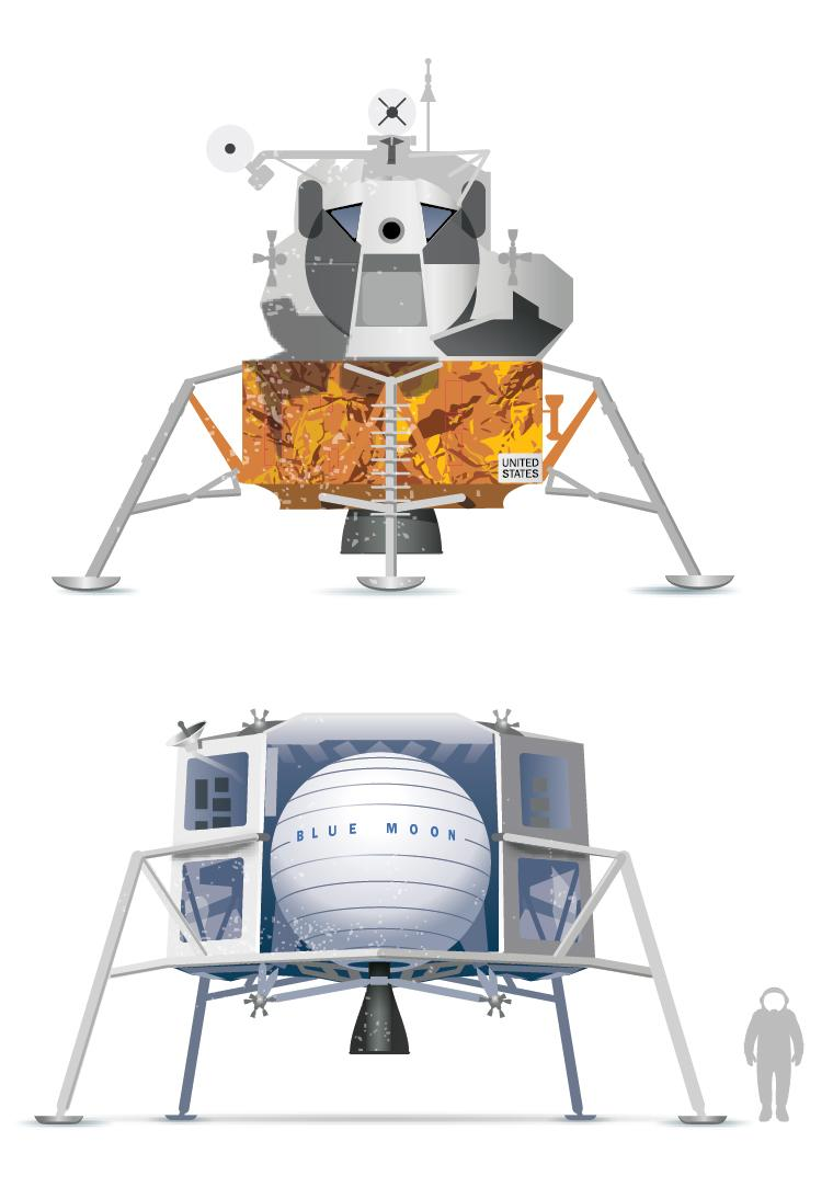 Top: The lunar module used on the Apollo 11 mission that put the first humans on the moon. Bottom: Blue Origin's planned moon-lander module, called