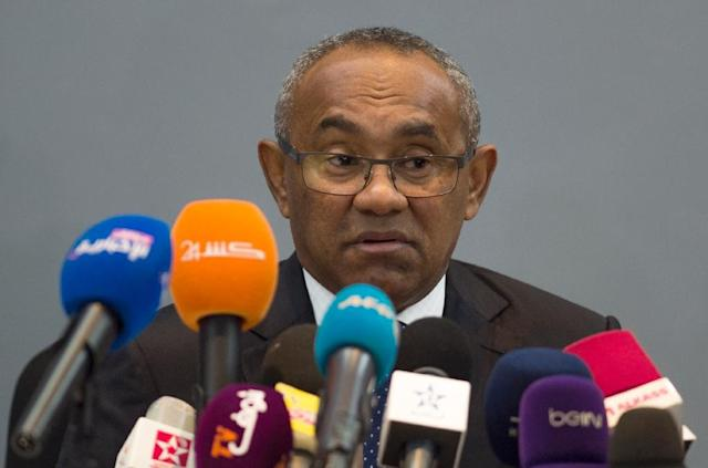 Ahmed Ahmed the new president of the Confederation of African Football (CAF) gives a press conference in Marrakech during his visit to Morocco on March 28, 2017 (AFP Photo/FADEL SENNA)