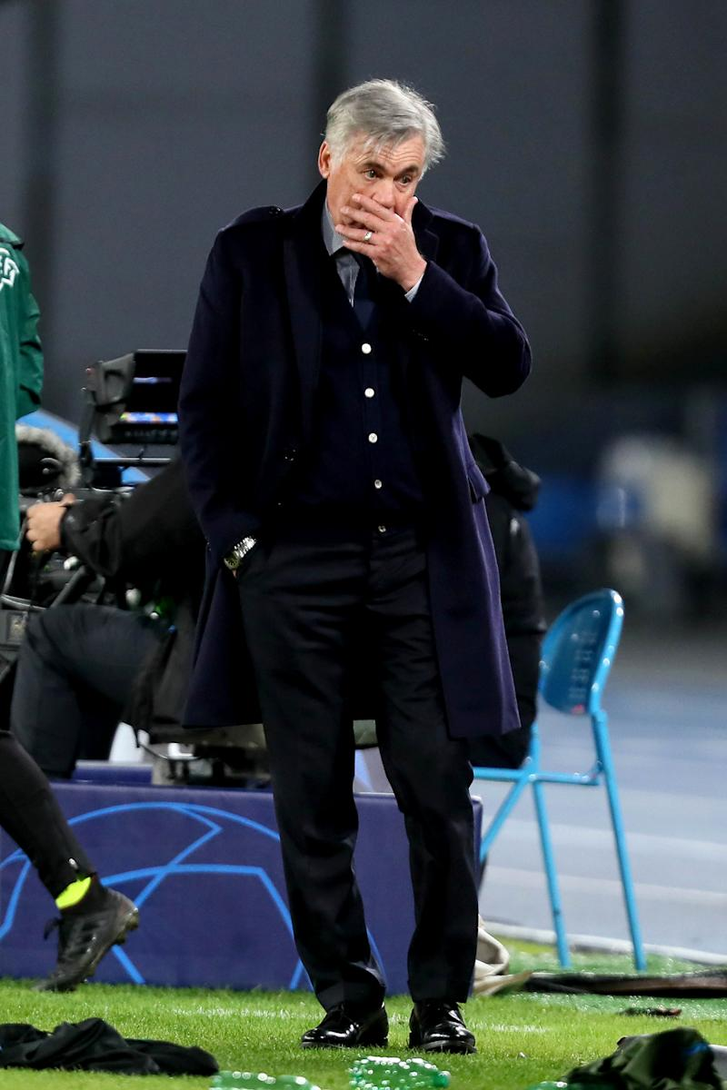 NAPLES, ITALY - DECEMBER 10: Carlo Ancelotti head coach of SSC Napoli thoughful during the UEFA Champions League group E match between SSC Napoli and KRC Genk at Stadio San Paolo on December 10, 2019 in Naples, Italy. (Photo by MB Media/Getty Images)
