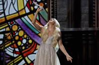 Carrie Underwood performs at the 56th annual Academy of Country Music Awards on Saturday, April 17, 2021, at the Grand Ole Opry in Nashville, Tenn. The awards show airs on April 18 with both live and prerecorded segments. (AP Photo/Mark Humphrey)