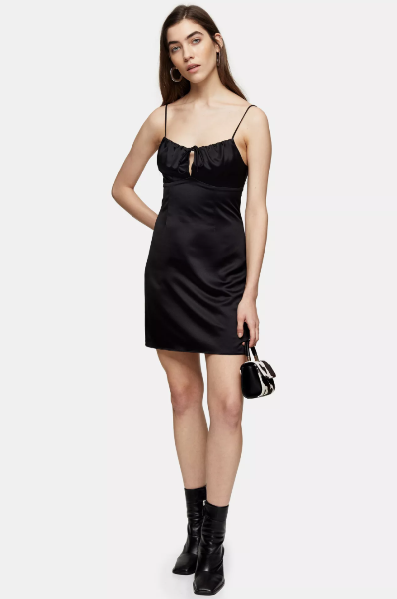 Black Gathered Bust Slip Dress. Image via Topshop.
