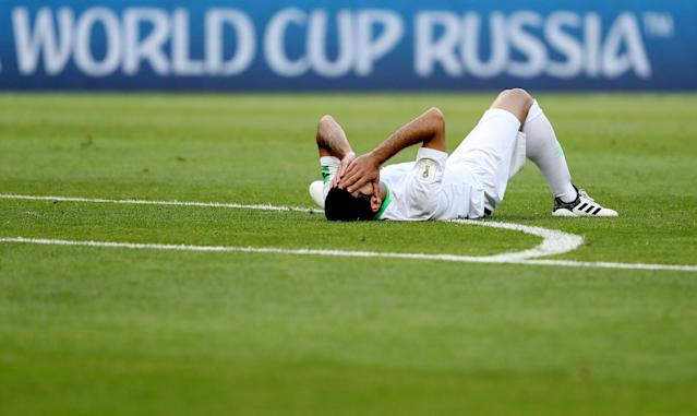 Soccer Football - World Cup - Group A - Uruguay vs Saudi Arabia - Rostov Arena, Rostov-on-Don, Russia - June 20, 2018 Saudi Arabia's Taisir Al-Jassim reacts after after sustaining an injury REUTERS/Marko Djurica TPX IMAGES OF THE DAY