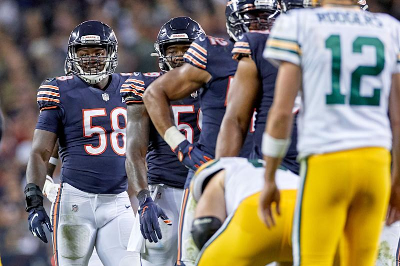 CHICAGO, IL - SEPTEMBER 05: Chicago Bears inside linebacker Roquan Smith (58) looks on in game action during a NFL game between the Green Bay Packers and the Chicago Bears on September 05, 2019 at Soldier Field, in Chicago, IL. (Photo by Robin Alam/Icon Sportswire via Getty Images)