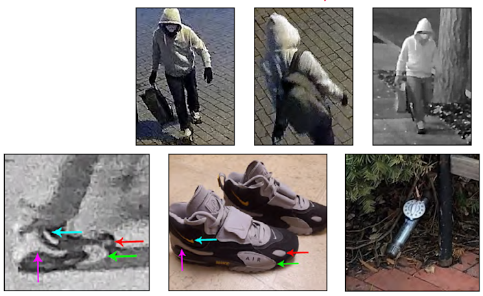 The FBI released these images as part of an investigation into who placed pipe bombs outside the RNC and DNC headquarters in Washington, D.C., ahead of the Jan. 6. 2021, Capitol riots.