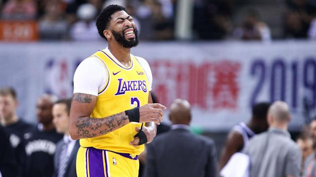 The Brooklyn Nets again defeated the Los Angeles Lakers, who saw Anthony Davis suffer a sprained thumb in China on Saturday.