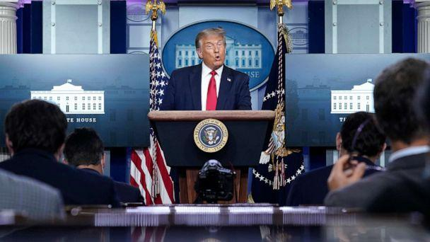 PHOTO: President Donald Trump speaks during a news conference in the James Brady Press BriefingRoom of the White House, Aug. 3, 2020, in Washington, D.C. (Drew Angerer/Getty Images)