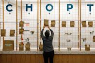 A worker sets out an order for pickup at the newest Chopt Creative Salad Co., location in New York
