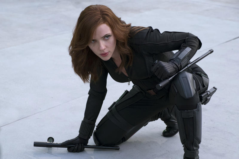 Black Widow/Natasha Romanoff (Scarlett Johansson) in <i>Captain America: Civil War</i> (Marvel 2016)