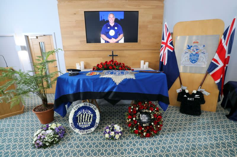 Funeral service of a police officer Sergeant Matt Ratana in Shoreham-by-Sea