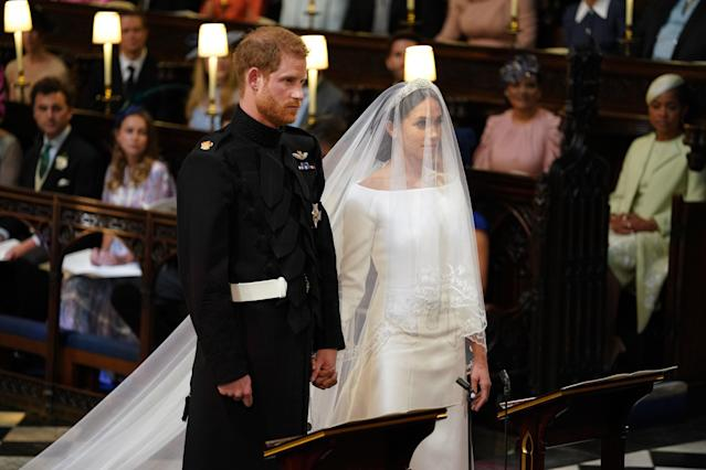 <p>Harry's full title will be Duke of Sussex, Earl of Dumbarton and Baron Kilkeel. Meghan will be the first woman to hold her title, the Duchess of Sussex, which became effective when she got married. (Photo: Getty) </p>