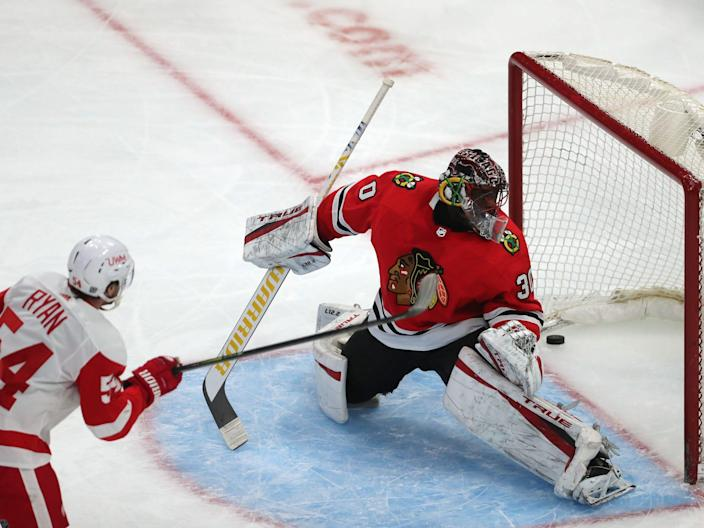 Detroit Red Wings right wing Bobby Ryan (54) scores a goal past Chicago Blackhawks goaltender Malcolm Subban (30) in the first period at the United Center on Feb. 27, 2021, in Chicago.