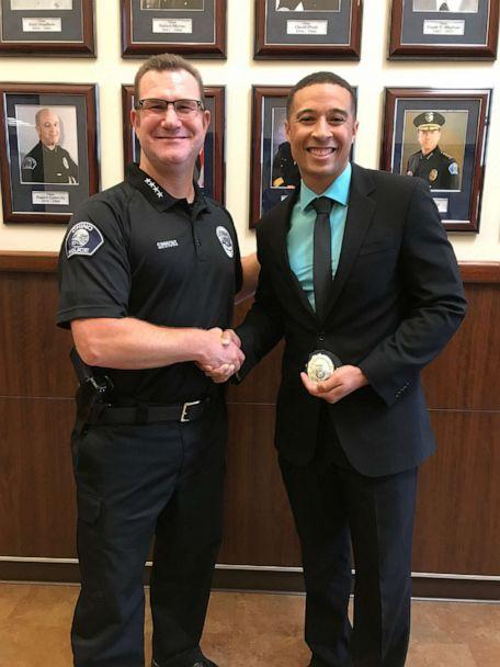 PHOTO: Officer Ryan Tillman is pictured with Chino Police Department Chief Wes Simmons after being promoted to corporal. (Chino Police Department)