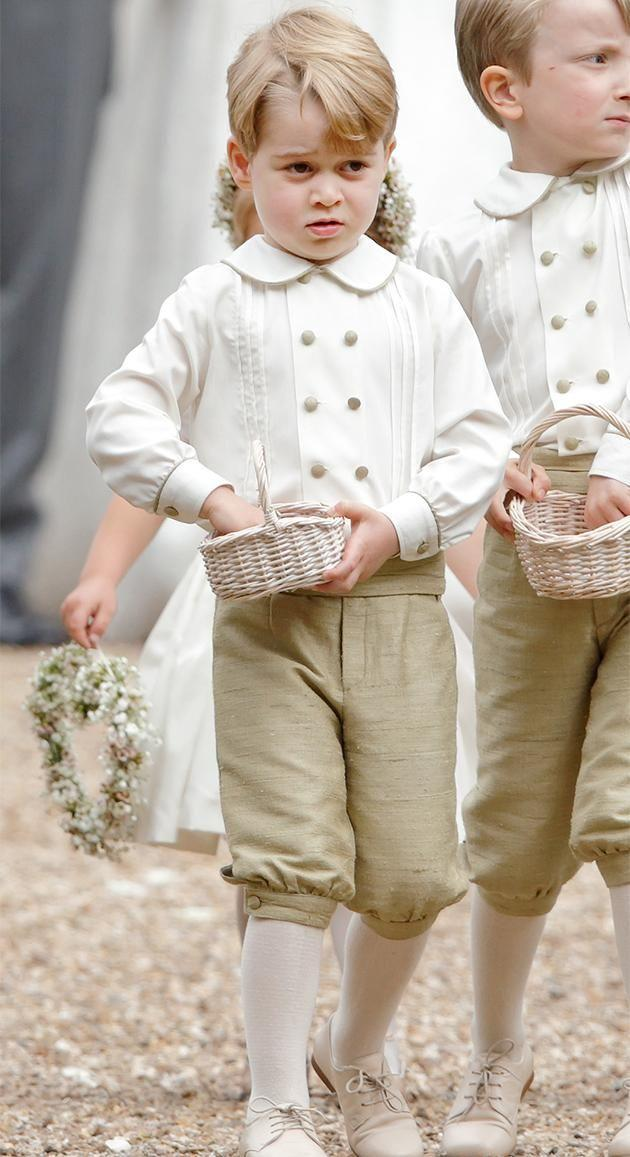 Prince George is often seen wearing shorts out at public engagements. Here he is at Pippa Middleton's wedding. Photo: Getty Images