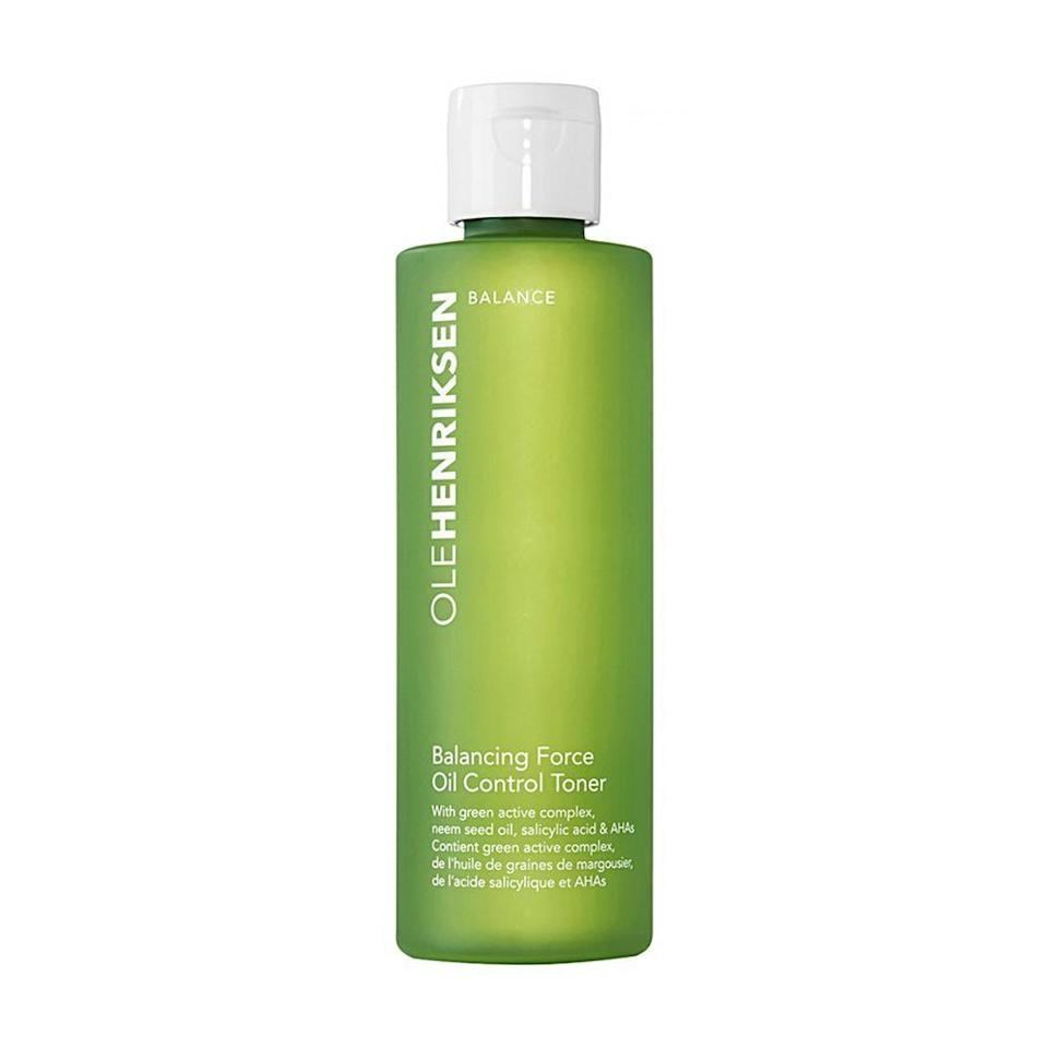 """<p><strong>OLEHENRIKSEN</strong></p><p>sephora.com</p><p><strong>$29.00</strong></p><p><a href=""""https://go.redirectingat.com?id=74968X1596630&url=https%3A%2F%2Fwww.sephora.com%2Fproduct%2Fbalancing-force-oil-control-toner-P416816&sref=https%3A%2F%2Fwww.bestproducts.com%2Fbeauty%2Fg249%2Ffacial-toners-for-every-skin-type%2F"""" rel=""""nofollow noopener"""" target=""""_blank"""" data-ylk=""""slk:Shop Now"""" class=""""link rapid-noclick-resp"""">Shop Now</a></p><p>This top-notch toner from Ole Henriksen concentrates on controlling oil and mattifying your skin. </p><p>Safe for use on all skin types, it's especially effective for oily skin thanks to the sebum-balancing powers of <a href=""""https://www.healthline.com/health/skin/salicylic-acid-for-acne"""" rel=""""nofollow noopener"""" target=""""_blank"""" data-ylk=""""slk:salicylic"""" class=""""link rapid-noclick-resp"""">salicylic</a>, glycolic, and <a href=""""https://www.paulaschoice.com/skin-care-advice/exfoliants/lactic-acid-for-skin?"""" rel=""""nofollow noopener"""" target=""""_blank"""" data-ylk=""""slk:lactic acids"""" class=""""link rapid-noclick-resp"""">lactic acids</a>. It cleanses the face by drying excess oil without over-stripping your skin of essential moisture.</p>"""