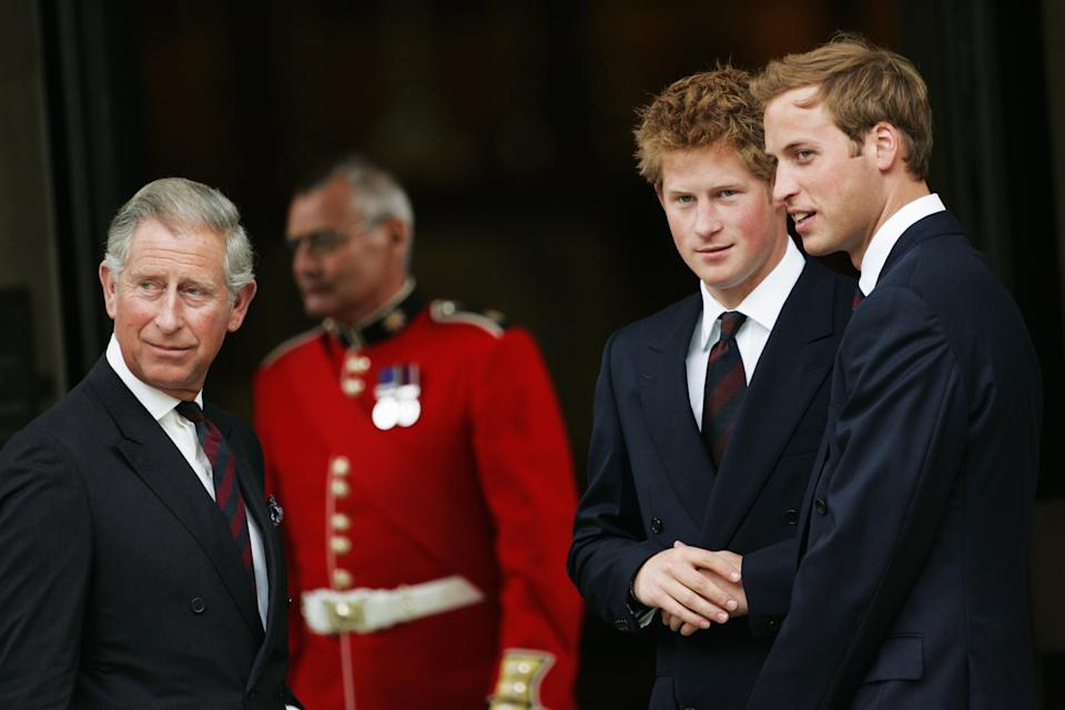 Prince Charles with Prince Harry and William in 2007