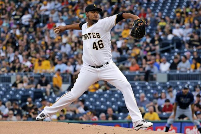 "<a class=""link rapid-noclick-resp"" href=""/mlb/teams/pit/"" data-ylk=""slk:Pittsburgh Pirates"">Pittsburgh Pirates</a> righty <a class=""link rapid-noclick-resp"" href=""/mlb/players/8728/"" data-ylk=""slk:Ivan Nova"">Ivan Nova</a> has been been great staying out of hitter's counts. (AP Photo/Gene J. Puskar)"