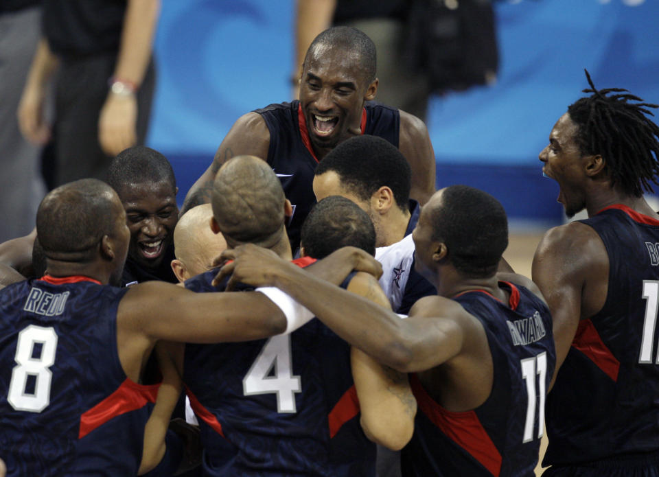 The camaraderie of the 2008 U.S. men's national team was readily apparent in the gold-medal celebration. (AP)