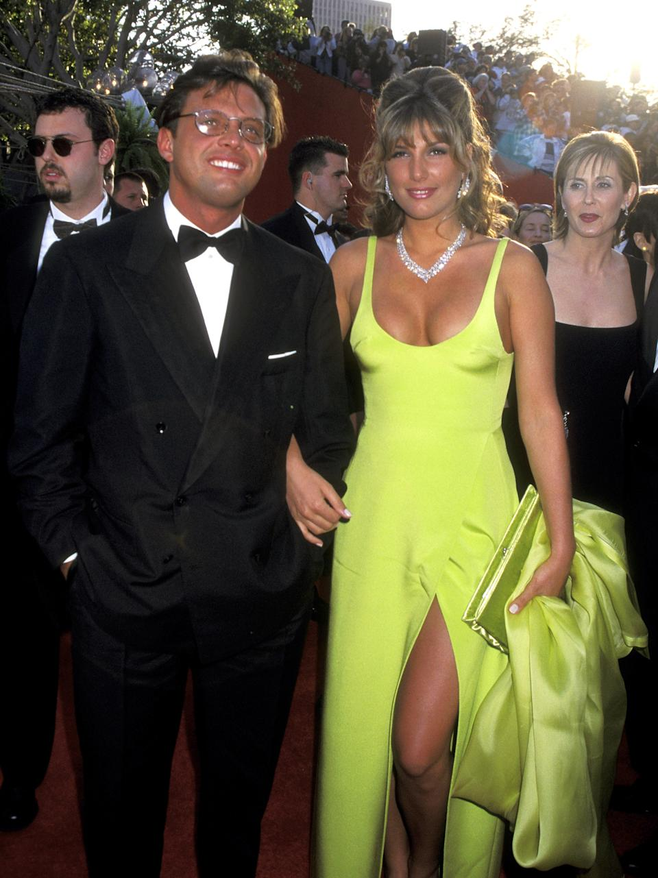 LOS ANGELES - MARCH 25:  Latin Singer Luis Miguel and Actress Daisy Fuentes attend the 68th Annual Academy Awards on March 25, 1996 at Dorothy Chandler Pavilion in Los Angeles, California. (Photo by Ron Galella, Ltd/Ron Galella Collection via Getty Images)