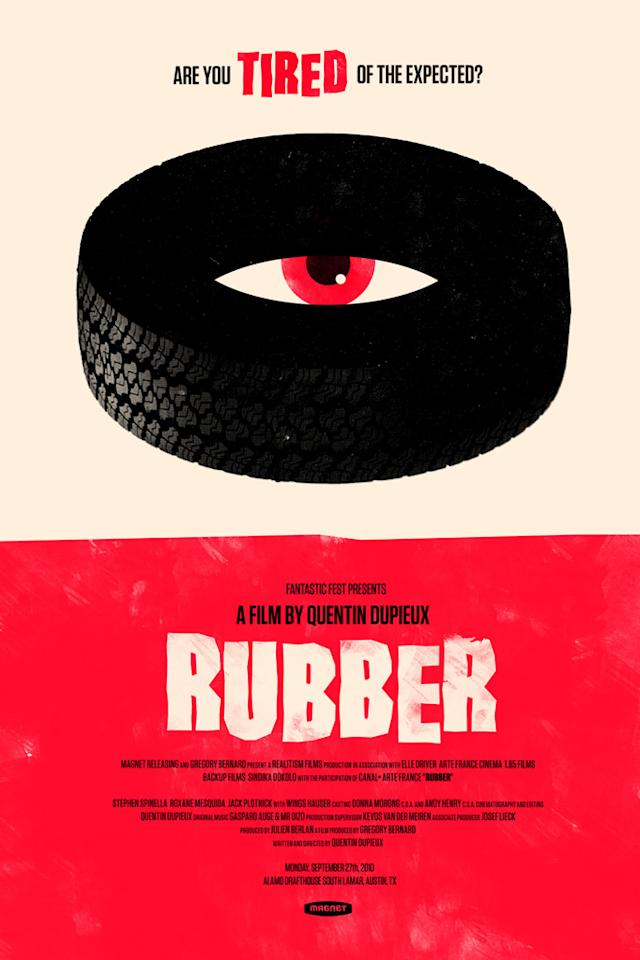 """Fantastic Fest scours the globe for the very best (and strangest) in genre cinema. """"<a href=""""http://movies.yahoo.com/movie/1810159050/info"""">Rubber</a>"""" tops the list of both categories with its tale of Robert, a very disgruntled psychokinetic automobile tire who explodes the heads of birds, beasts and humans alike on a high-desert killing spree like no other."""