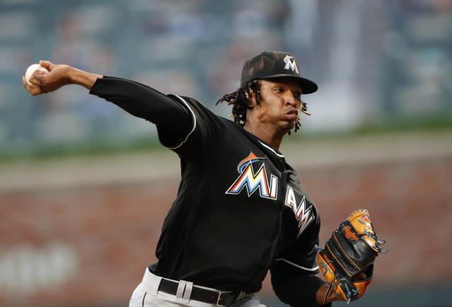 Miami Marlins starting pitcher Jose Urena works during the fifth inning of the team's baseball game against the Atlanta Braves on Saturday, May 19, 2018, in Atlanta. (AP Photo/John Bazemore)