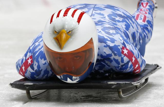 Katie Uhlaender of the U.S. starts an unofficial women skeleton progressive training at the Sanki sliding center in Rosa Khutor, a venue for the Sochi 2014 Winter Olympics near Sochi, February 5, 2014. REUTERS/Murad Sezer (RUSSIA - Tags: SPORT OLYMPICS SKELETON)