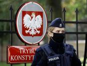 Police officer stands outside Constitutional Tribunal building in Warsaw