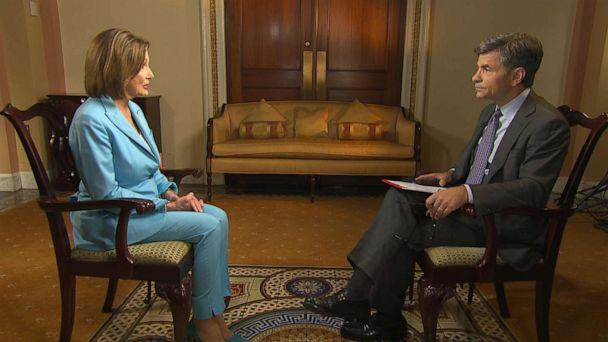 PHOTO: House Speaker Nancy Pelosi sits down for an interview with GMA's George Stephanopoulos, Oct 2, 2019. (ABC News)
