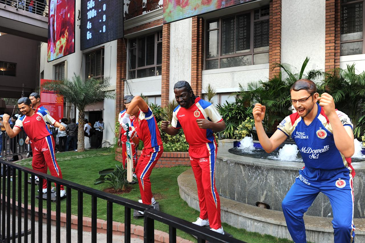RCB players statues being displayed in front of Chinnaswamy Stadium during the IPL T-20 matches between RCB v/s Mumbai Indians , in Bangalore on 4TH  of April 2013