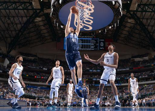 DALLAS, TX - APRIL 5 : Dirk Nowitzki #41 of the Dallas Mavericks dunks the ball during the game against the Memphis Grizzlies on April 5, 2019 at the American Airlines Center in Dallas, Texas. (Photo by Glenn James/NBAE via Getty Images)