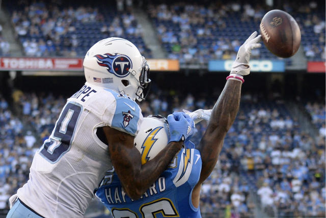 <p>Tennessee Titans wide receiver Tajae Sharpe, left, grabs the helmet of San Diego Chargers cornerback Casey Hayward, right, during the second half of an NFL football game Sunday, Nov. 6, 2016, in San Diego. Sharpe was called for interference on the play. (AP Photo/Denis Poroy) </p>