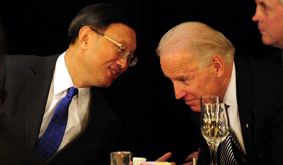 Yang Jiechi with Joe Biden, then the US vice-president, in Los Angeles in 2012. Photo: AFP/Getty Images/TNS