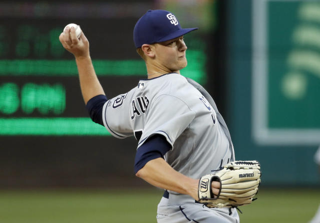 San Diego Padres starting pitcher Eric Lauer throws during the second inning of the team's baseball game against the Washington Nationals at Nationals Park, Tuesday, May 22, 2018, in Washington. (AP Photo/Alex Brandon)