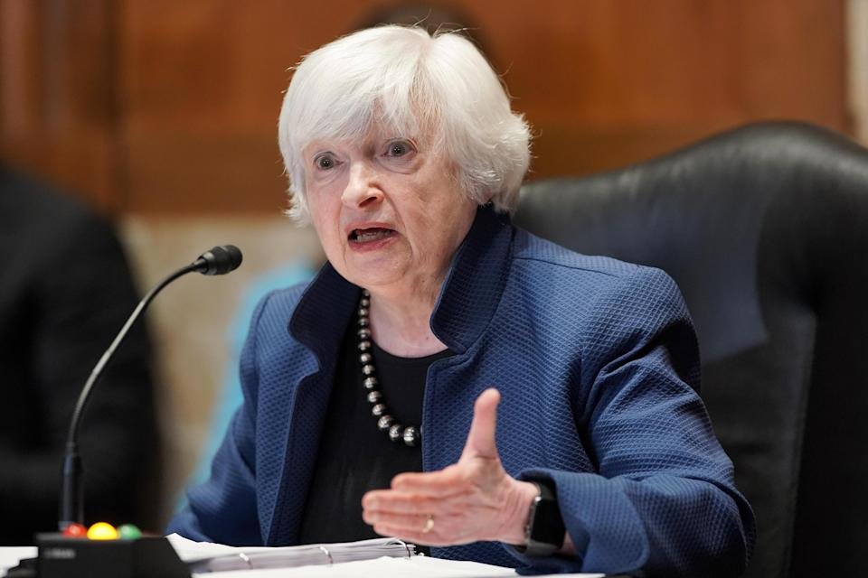 Janet Yellen, U.S. Treasury secretary, speaks during a Senate Appropriations Subcommittee hearing in Washington, D.C., U.S., on Wednesday, June 23, 2021.  / Credit: Greg Nash/The Hill/Bloomberg via Getty Images