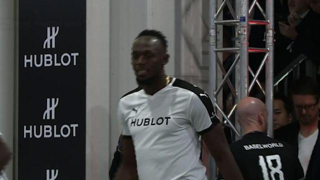 Retired Jamaican Olympic and World champion sprinter Usain Bolt takes part in an exhibition football game organised by watchmaker Hublot.