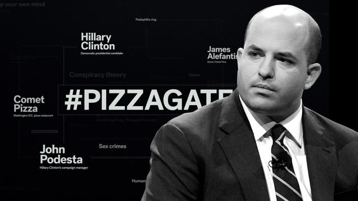 """Brian Stelter and a frame from HBO's """"After Truth"""". Photo illustration: Yahoo News; photos: HBO, Matt Winkelmeyer/Getty Images)"""