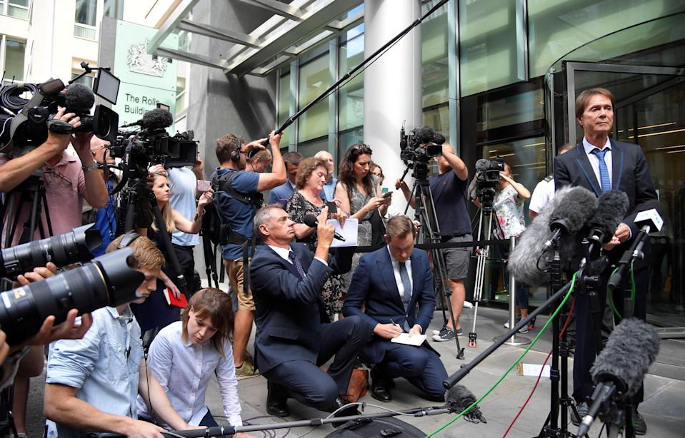 <em>Emotional – Sir Cliff was visibly emotional following the judgement (Picture: Reuters)</em>