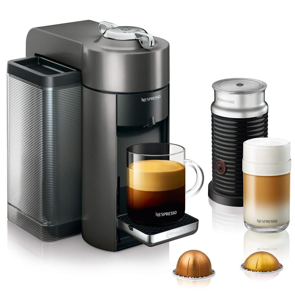 "Get the <a href=""https://fave.co/39d71sH"" target=""_blank"" rel=""noopener noreferrer"">Nespresso Evoluo Deluxe By De'Longhi with Aeroccino3 Frother on sale for $173</a> (normally $249) at Sur La Table."