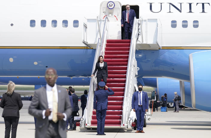 Vice President Kamala Harris deplanes Air Force Two after a technical issue forced the aircraft to return and land at Andrews Air Force Base, Maryland, on Sunday, June 6, 2021, as she was heading to Guatemala City. / Credit: Jacquelyn Martin / AP