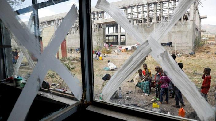 On March 15, 2021, displaced persons are seen on the Shire campus of Aksum University, which has become a temporary shelter for displaced persons due to conflict in the town of Shire in the Tigray region of Ethiopia.
