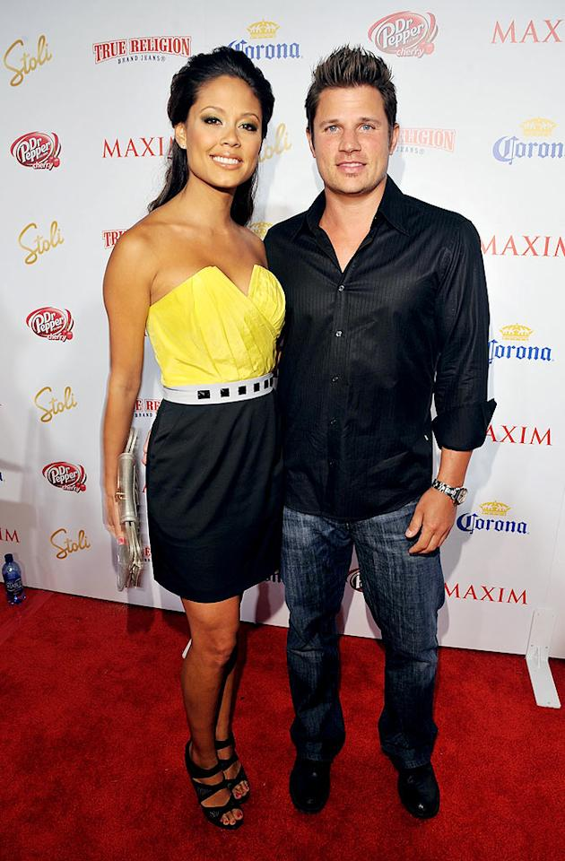 "Sky-high sandals helped Vanessa Minnillo see eye-to-eye with boyfriend Nick Lachey. Lester Cohen/<a href=""http://www.wireimage.com"" target=""new"">WireImage.com</a> - May 13, 2009"