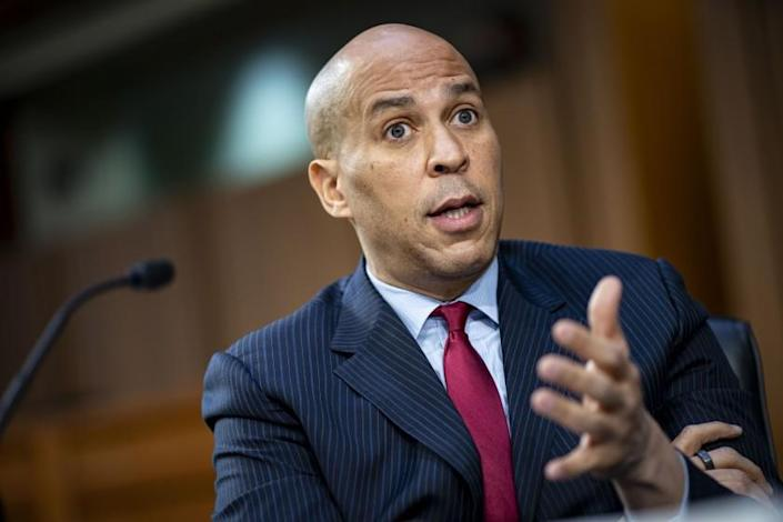 Sen. Cory Booker, D-N.J., speaks during a hearing for Judge Merrick Garland, nominee to be Attorney General, before the Senate Judiciary Committee, Monday, Feb. 22, 2021 on Capitol Hill in Washington. (Al Drago/Pool via AP)