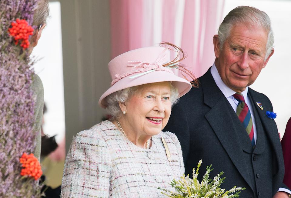 BRAEMAR, SCOTLAND - SEPTEMBER 02:  Queen Elizabeth II and Prince Charles, Prince of Wales attend the 2017 Braemar Highland Gathering at The Princess Royal and Duke of Fife Memorial Park on September 2, 2017 in Braemar, Scotland.  (Photo by Samir Hussein/Samir Hussein/WireImage)