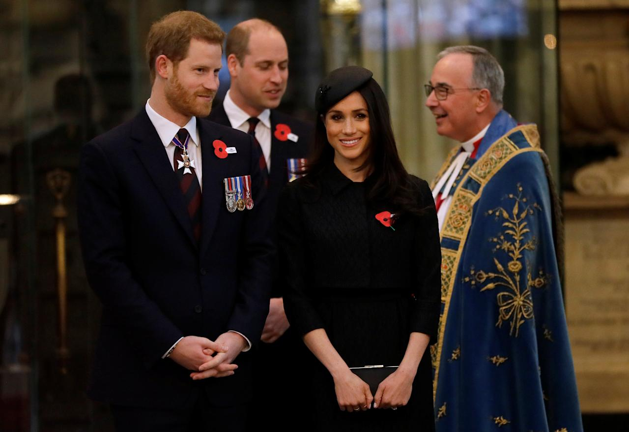 Britain's Prince William, Prince Harry and his fiancee Meghan Markle arrive at a Service of Thanksgiving and Commemoration on ANZAC Day at Westminster Abbey in London, April 25, 2018. Kirsty Wigglesworth/Pool via Reuters
