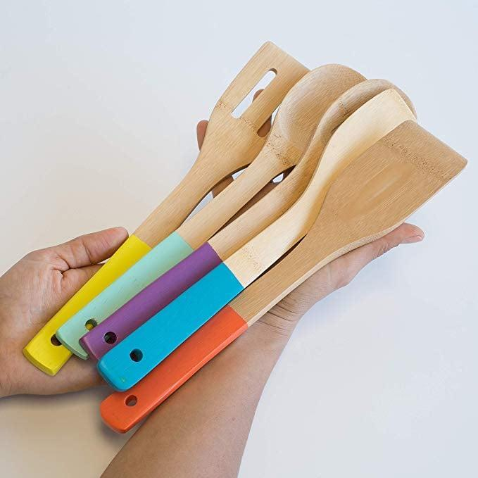 <p>The vibrant colors of these <span>Now Designs Bamboo Utensils</span> ($15, set of five) make us smile.</p>