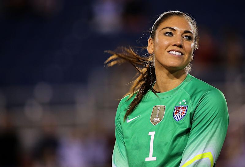Hope Solo playing soccer