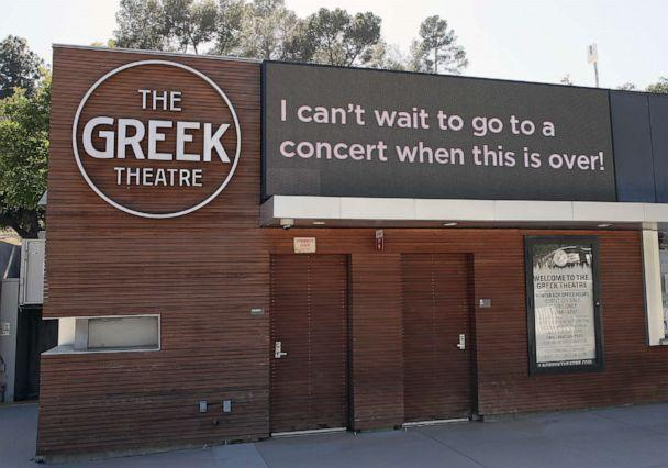 PHOTO: A sign at the Greek Theatre reads 'I can't wait to go to a concert when this is over,' on May 17, 2020 in Los Angeles. (David Livingston/Getty Images)