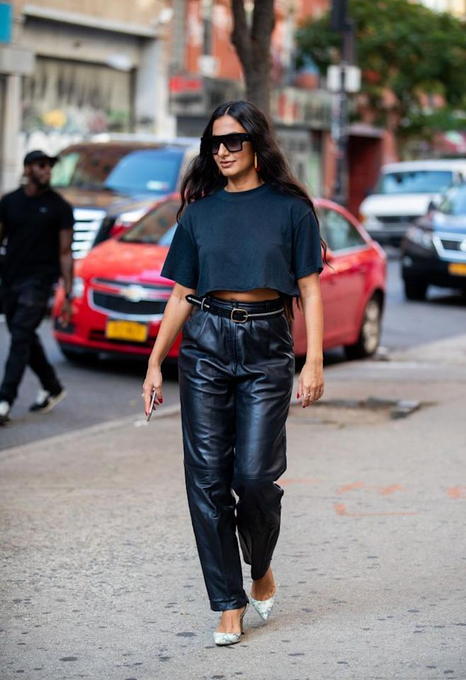 "<p>A black crop top can be styled so many different ways, but the classic monochrome look never fails. Instead of defaulting to jeans, dress your top up with leather trousers and a sexy pump. Top it off with some oversized sunnies to tie your look together. </p><p>Shop a similar top: <em><a href=""https://www.shopbop.com/cropped-tee-splendid/vp/v=1/1546544641.htm?extid=affprg_linkshare_SB-J84DHJLQkR4&cvosrc=affiliate.linkshare.J84DHJLQkR4&affuid=4649588946&sharedid=42352&subid1=J84DHJLQkR4-RvT4AMqRca6Q86cHiACk8A"" target=""_blank"">Splendid top</a>, $48</em></p>"